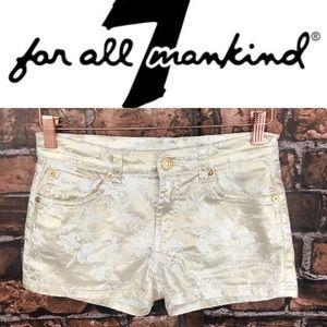 7FAMK Girls Metallic Floral Gold Shorts
